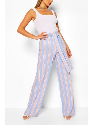 Boohoo Pastel Stripe Belted Wide Leg Pants