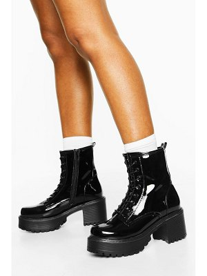 Boohoo Patent Block Heel Lace Up Hiker Boots