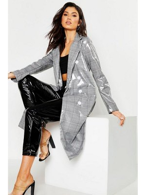 Boohoo Patent flannel Trench Coat