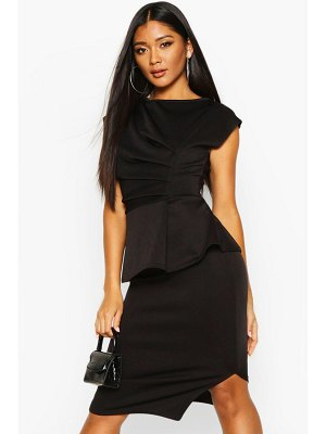 Boohoo Peplum Detail Ruched Midi Dress
