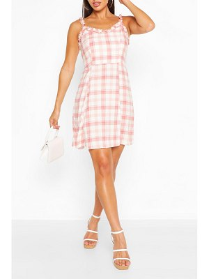 Boohoo Pink Flannel Sun Dress