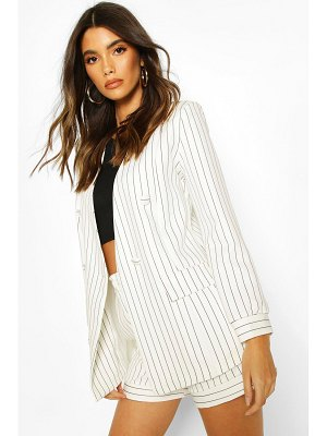 Boohoo Pinstripe Collarless Double Breasted Blazer