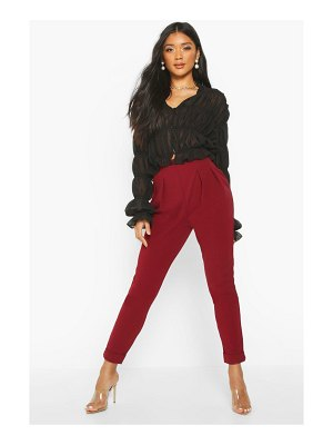 Boohoo Pleat Front Turn Up Slim Fit Trouser