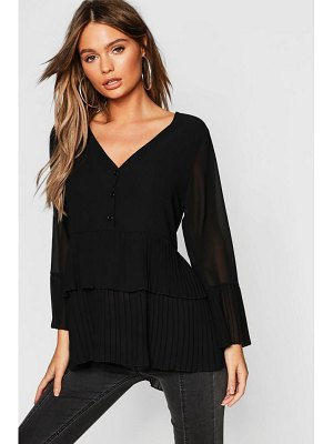 Boohoo Pleated Button Smock Blouse