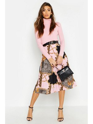 Boohoo Pleated Chain Print Midi Skirt