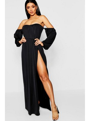 Boohoo Pleated Off The Shoulder Maxi Dress