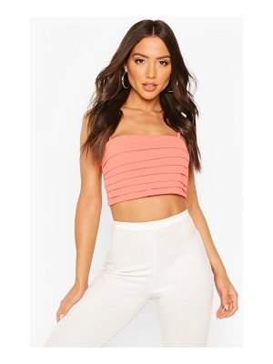 Boohoo Pleated Square Neck Strappy Crop Top