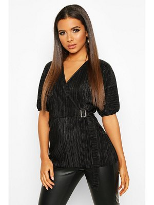 Boohoo Pleated Wrap Front Tie Waist Top
