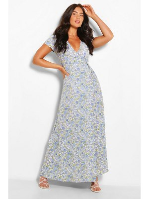 Boohoo Plunge Front Floral Tie Maxi Dress