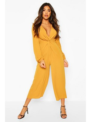 Boohoo Plunge Knot Front Culotte Jumpsuit