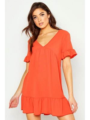 Boohoo Plunge Ruffle Sleeve Smock Dress