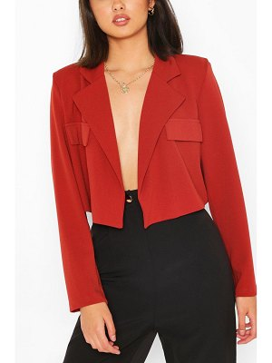 Boohoo Pocket Tailored Crop Blazer