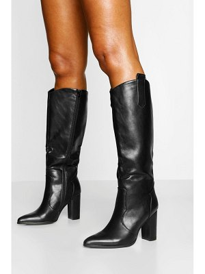 Boohoo Pointed Toe Block Heel Knee High Boots
