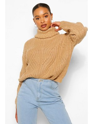 Boohoo Pointelle Roll Neck Sweater