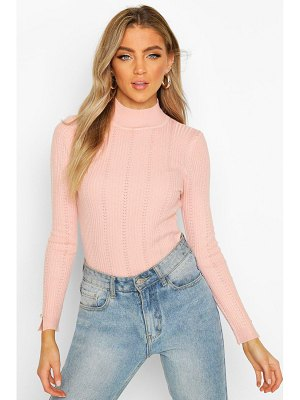 Boohoo Pointelle Turtle Neck Knitted Top