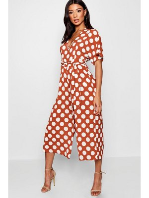 Boohoo Polka Dot Belt Jumpsuit