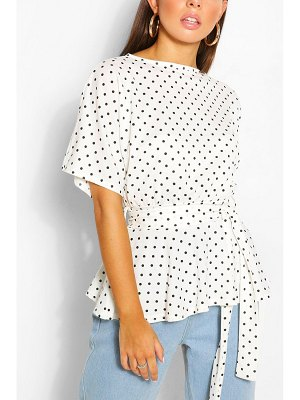 Boohoo Polka Dot Belted Peplum Top