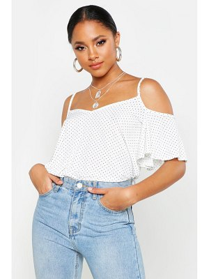 Boohoo Polka Dot Cold Shoulder Pleated Cami