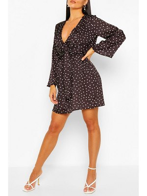 Boohoo Polka Dot Knot Front Wrap Dress