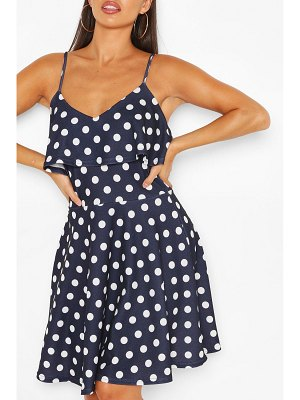 Boohoo Polka Dot Ruffle Detail Strappy Skater Dress