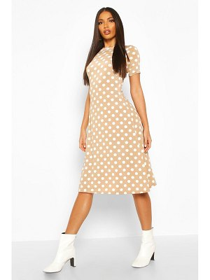 Boohoo Polka Dot Short Sleeve Midi Dress