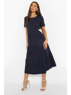 Boohoo Polka Dot Smock Maxi Dress