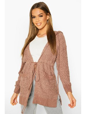 Boohoo Popcorn Knit Hooded Cardigan