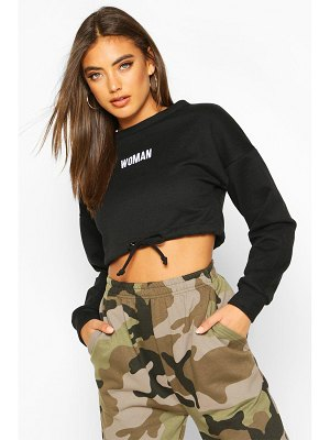 Boohoo Premium Cropped Ruched Hem Embroidered Sweatshirt