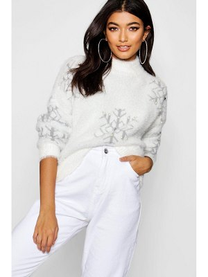 Boohoo Premium Embellished Feather Knit Sweater