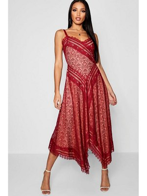 Boohoo Premium Eyelash Lace Asymmetric Hem Midi Dress
