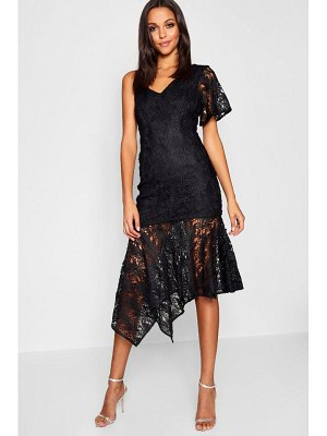 Boohoo Premium Lace Asymmetric Midi Dress
