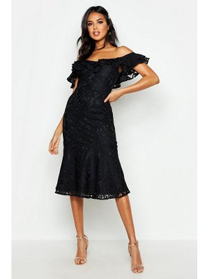 Boohoo Premium Lace Off The Shoulder Midi Dress