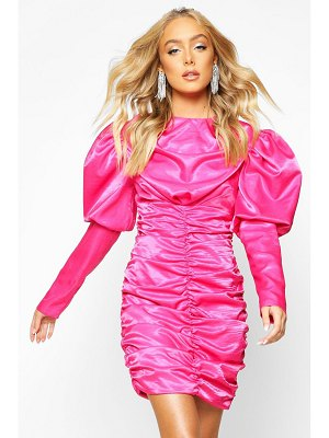 Boohoo Premium Puff Sleeve Ruched Fitted Dress