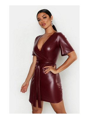 Boohoo PU Belted Bodycon Dress