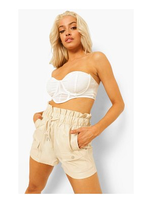 Boohoo Pu Faux Leather Drawstring Paperbag Shorts