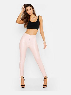 Boohoo Pu Leather Look Zip Front Skinny Pants