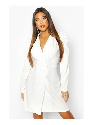 Boohoo Puff Shoulder Double Breasted Blazer Dress