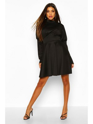 Boohoo Puff Sleeve High Neck Skater Dress