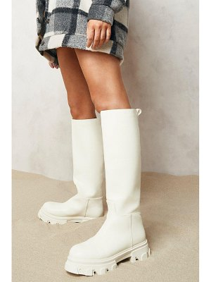 Boohoo Pull On Chunky Knee High Boots