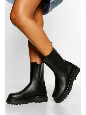 Boohoo Quilted Detail Calf High Chelsea Boot