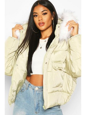 Boohoo Quilted Faux Fur Hooded Puffer