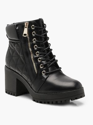 Boohoo Quilted Zip and Lace Up Hiker Boots