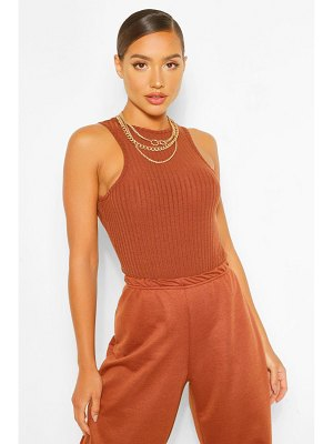 Boohoo Racer Front Knitted Rib One Piece