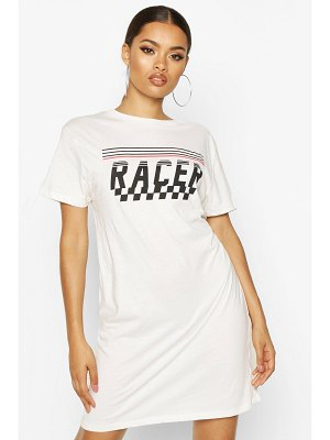 Boohoo Racer Printed T-Shirt Dress