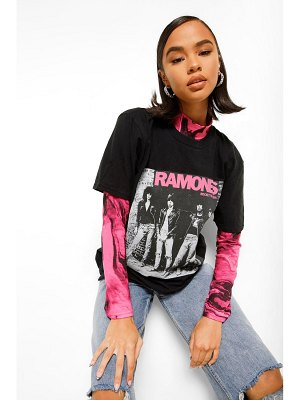 Boohoo Ramones Front And Back License Print T-Shirt