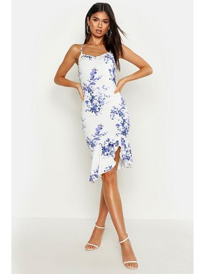 Boohoo Recycled Blue Floral Strappy Frill Front Dress