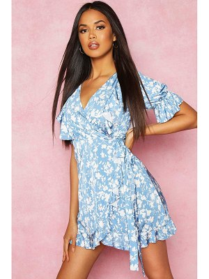 Boohoo Recycled Floral Print Ruffle Wrap Tea Dress