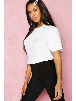 Boohoo Recycled French Slogan Rose Pocket Print T-Shirt