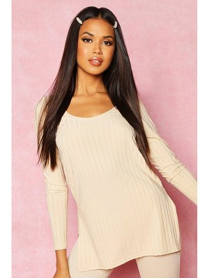Boohoo Recycled Longline Side Split Rib Top