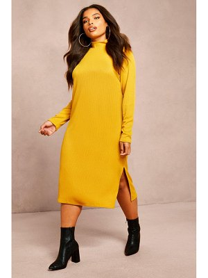 Boohoo Recycled Roll Neck Rib Side Split Tunic
